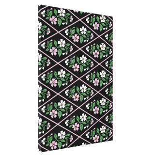 Black pink and white floral canvas print
