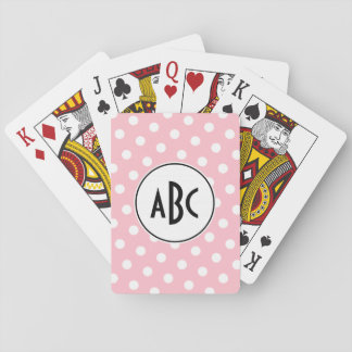 Black Pink and White Polka Dots Monogram Playing Cards