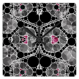 Black Pink Bling Square Wallclocks