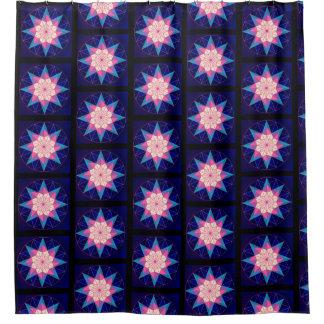 Black Pink Blue Geometric Star Design Shower Curtain