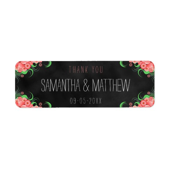 Black Pink Chalkboard Floral Wedding Favour Labels