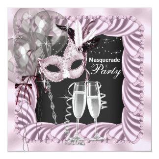 Black Pink Champagne Masquerade Party 13 Cm X 13 Cm Square Invitation Card