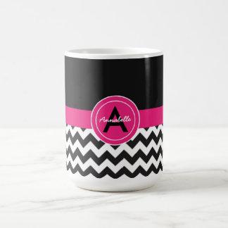 Black Pink Chevron Coffee Mug