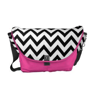 Black & Pink Chevron Messenger Bag
