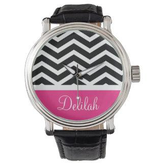 Black Pink Chevron Name Wristwatches
