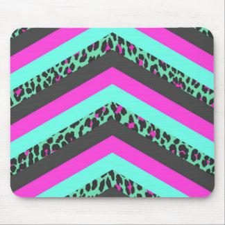 Black Pink Chevron Stripes  Teal Cheetah Print Mouse Mat