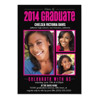 Black Pink Class of 2014 Graduate Photo Invite
