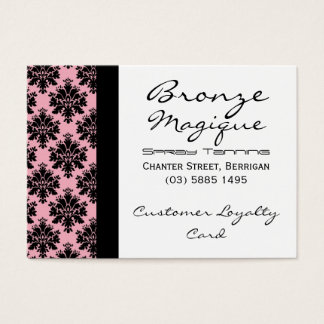 Black Pink Damask Business Customer Loyalty Cards