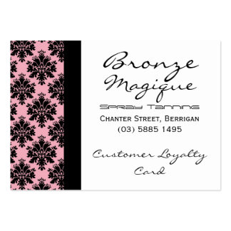 Black Pink Damask Business Customer Loyalty Cards Pack Of Chubby Business Cards