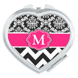 Black Pink Damask Chevron Monogram Mirror For Makeup