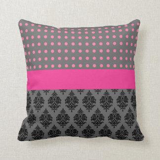 Black Pink Damask Pattern Polka Dots Throw Pillow