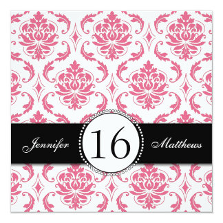 Black Pink Damask Sweet Sixteen Invitations