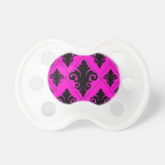 Black pink diamond damask pattern pacifier