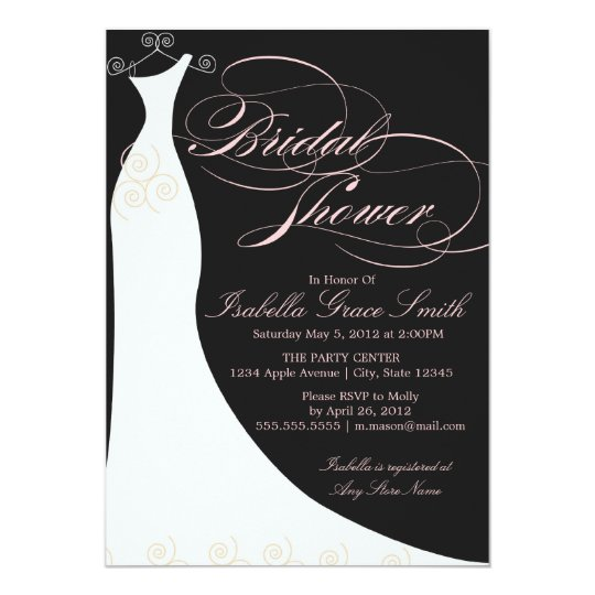 Black/Pink Elegant Dress | Bridal Shower Invite