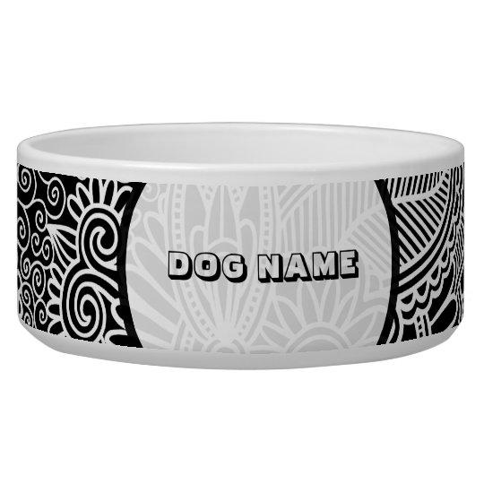 Black & Pink Fine Line Shading Pattern-Monogramed Dog Water Bowl