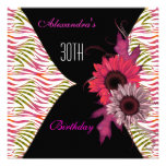Black Pink Floral 30th Birthday Party Invitation
