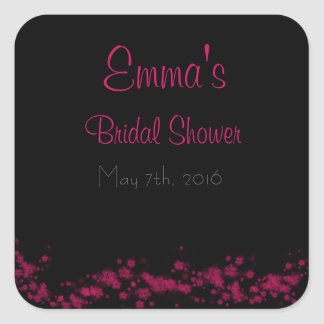 Black & Pink Floral Bridal Shower Stickers