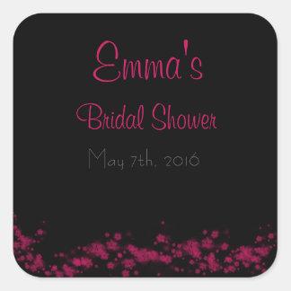 Black & Pink Floral Bridal Shower Stickers