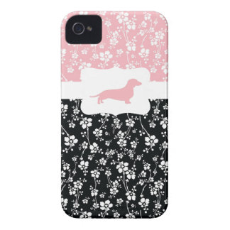 Black&Pink Floral w/Dachshund iPhone 4 Cover