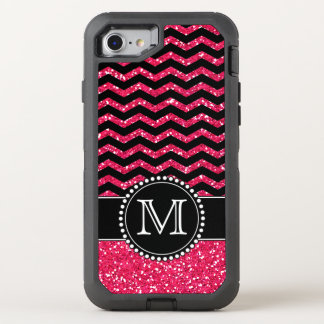 Black & Pink Glitter Chevron Monogrammed Defender OtterBox Defender iPhone 8/7 Case