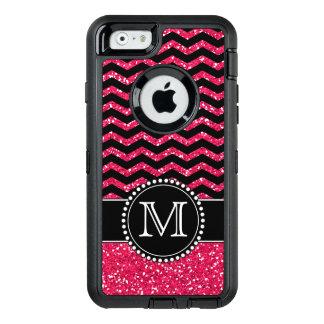 Black & Pink Glitter Chevron Monogrammed Defender OtterBox Defender iPhone Case