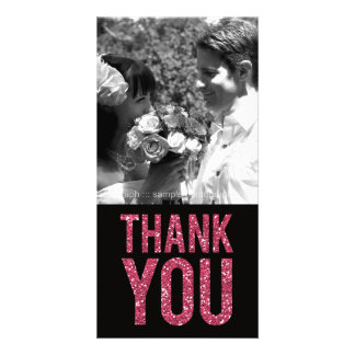 Black & Pink Glitter Thank You Photo Cards Photo Card