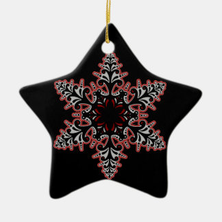 Black Pink Gothic Snowflake Christmas Ornament