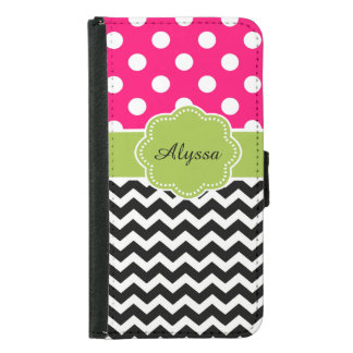 Black Pink Green Dots Chevron Personalized Samsung Galaxy S5 Wallet Case