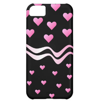 Black Pink Hearts and Ribbons iPhone 5C Case