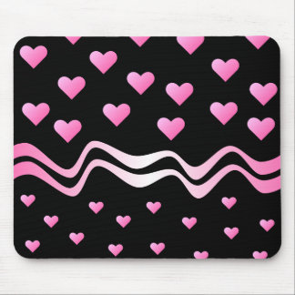 Black Pink Hearts and Ribbons Mouse Mat