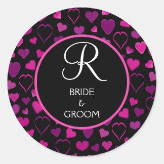 Black Pink Hearts Design Wedding Monogram Seal Round Sticker