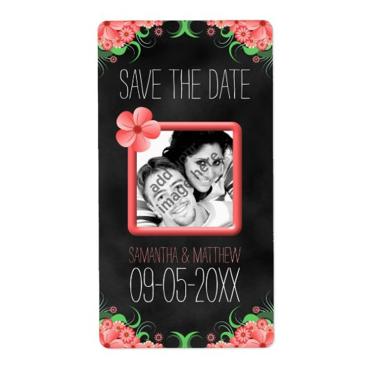 Black Pink Hibiscus Save The Date Wine Label Large