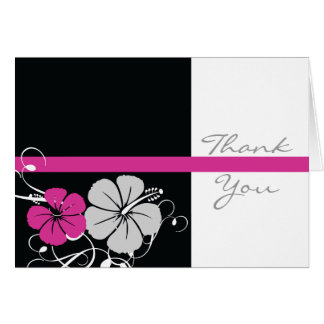 Black & Pink Hibiscus Thank You Card