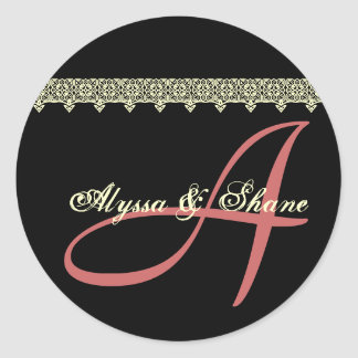 BLACK PINK IVORY Lace A Monogram Bride and Groom Round Sticker