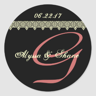 BLACK PINK IVORY Lace G Monogram Bride and Groom Round Stickers