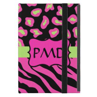 Black, Pink & Lime Green Zebra Leopard Skins iPad Mini Covers