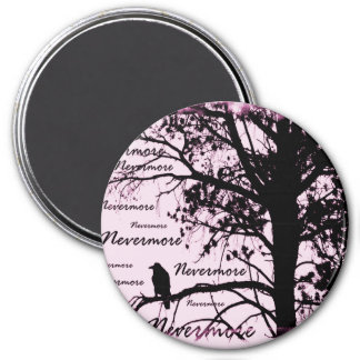 Black & Pink Nevermore Raven Silhouette Magnet