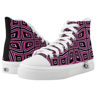 BLACK & PINK OPTICAL ILLUSION HIGH TOP SNEAKERS