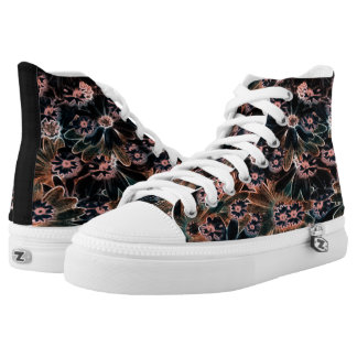 Black_Pink_Orange Flowers High Tops Shoes