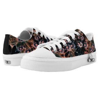 Black_Pink_Orange Flowers Low Tops Shoes