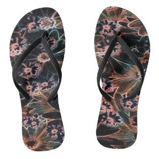 Black_Pink_Orange Flowers Pair of Flip Flops
