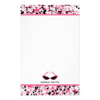Black & Pink Paint Splatter Retro Pink Sunglasses Customised Stationery