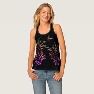 Black Pink Palm Trees Customize Tangier Morocco Tank Top