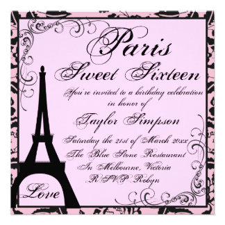 Black Pink Paris Sweet16 Birthday Invite