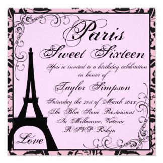 Black Pink Paris Sweet16 Birthday Invite