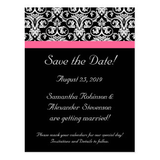 Black Pink Passion Damask Save the Date Card Postcard