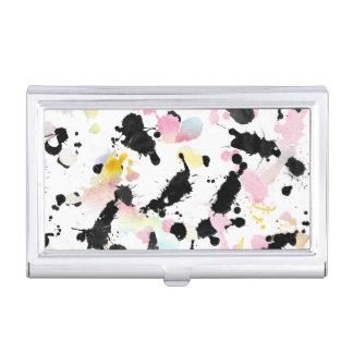 Black pink pastel modern watercolor splatters business card holder