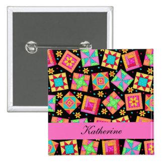 Black Pink Patchwork Quilt Blocks Name Badge