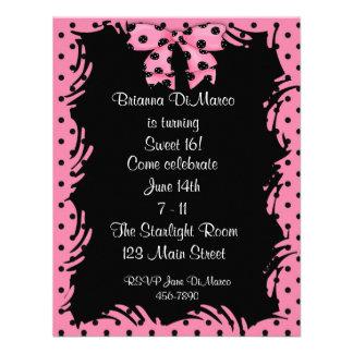 Black Pink Polka Dot Invitation