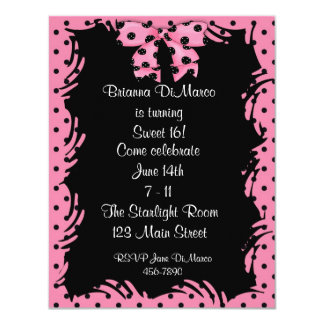 Black Pink Polka Dot Invitation
